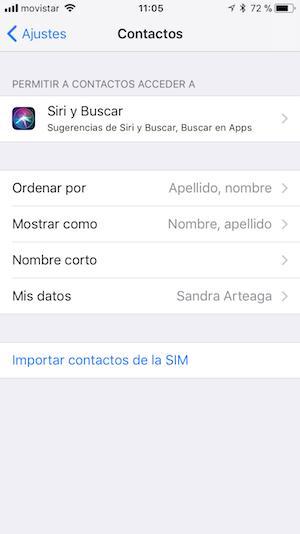 Ajustes en contactos de iPhone