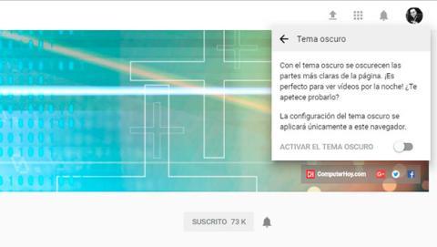 Activa el modo oscuro de YouTube