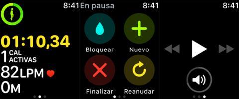 Ejemplo de una actividad física en el Apple Watch 3