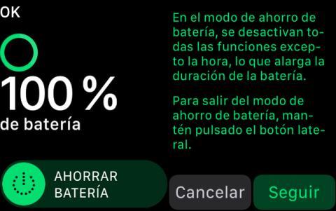 Así son las opciones de ahorro de batería en el Apple Watch 3