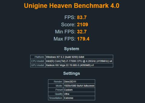 Benchmark RX VEGA 64