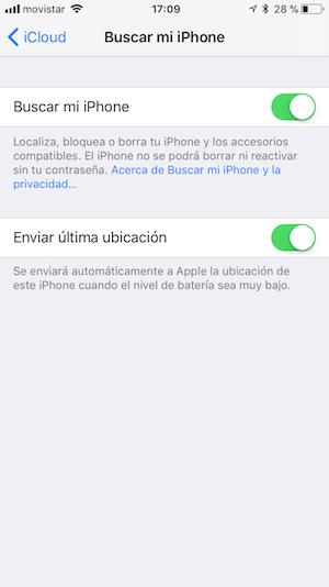 Desactivar Buscar mi iPhone