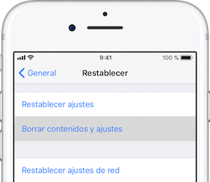 Restablecer ajustes iPhone