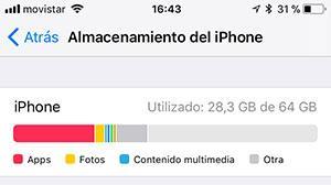 Revisa almacenamiento iPhone