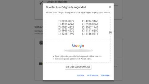 Cómo solucionar problemas con la verificación en dos pasos de Google imprimiendo tus códigos.