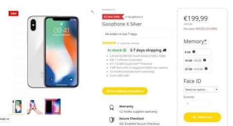 Goophone X, el clon del iPhone X que cuesta 199 euros