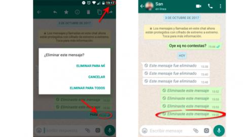 Borrar anular eliminar mensajes enviados WhastApp