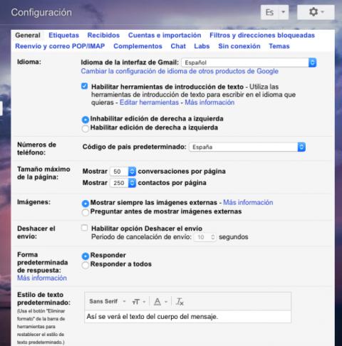 Configuración general cuenta GMail