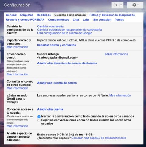 Configurar cuentas e importación en Gmail