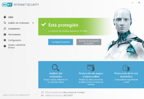 ESET Internet Security 2018 Interfaz