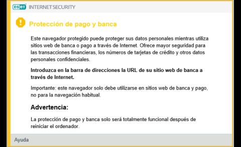 ESET Internet Security 2018 Protección de pago y banca online