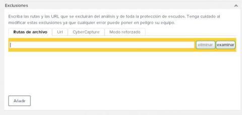 Exclusiones en Avast antivirus