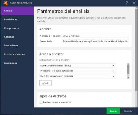 Configurar análisis Avast gratis