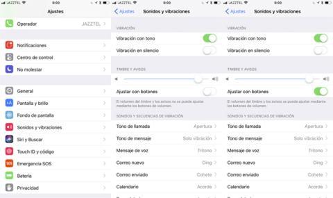 Ajustar volumen del timbre con botones en iOS 11