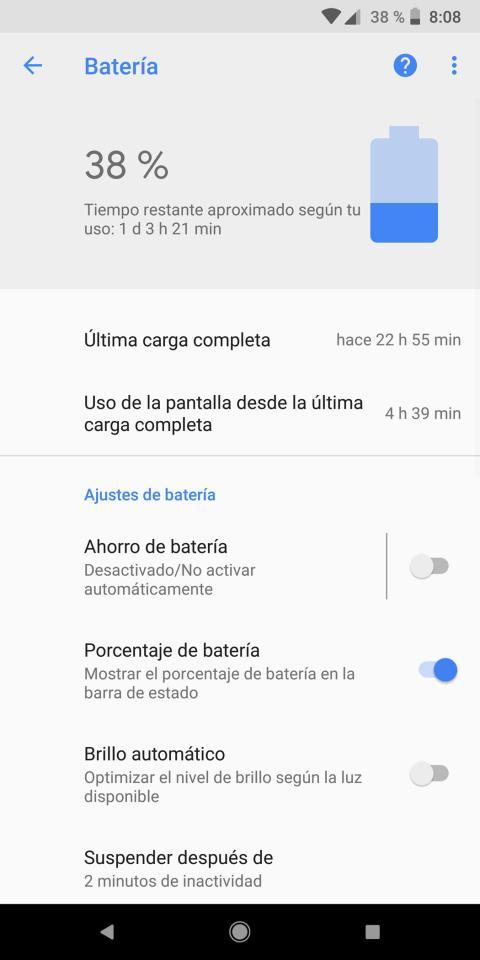 Batería del Pixel 2 XL: consumo, autonomía y opciones de ahorro