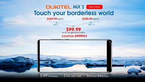 Oukitel Mix 2 por solo 99,99 dólares ¡130 dólares de descuento!