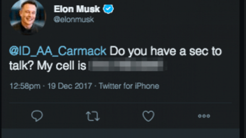 Elon Musk número teléfono Twitter