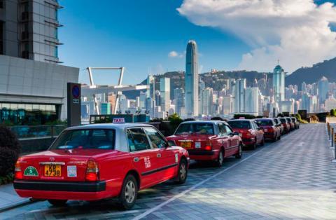 Taxis esperando en Japón
