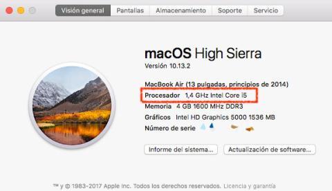 cómo ver procesador mac
