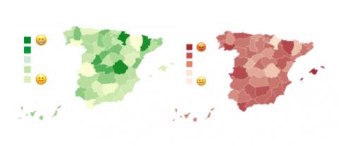 Provincias más felice y más tristes de España según los emojis que usan