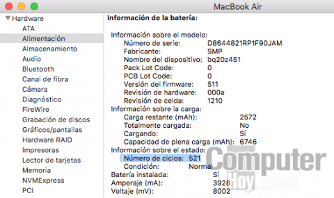 ciclos batería macbook