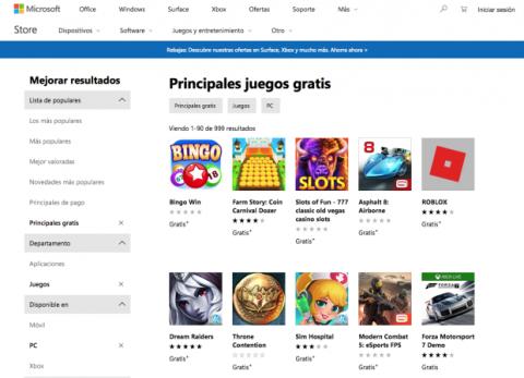 Juegos gratis Microsoft