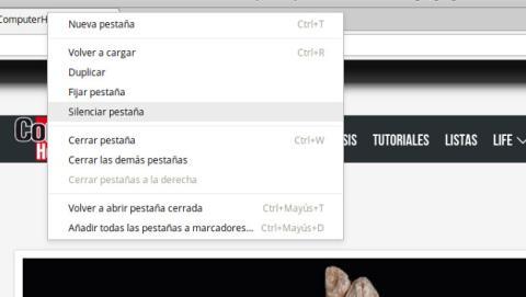 Cómo silenciar página web con Chrome 64.