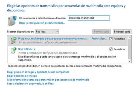 Acceso biblioteca multimedia Windows 10