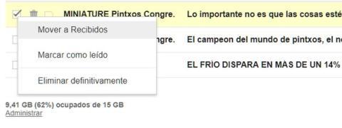 Cómo recuperar un correo borrado en Gmail