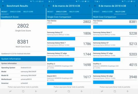 Benchmark del Galaxy S9 Plus en Geekbench 4 Pro