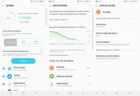 Ejemplo de la autonomía que se puede conseguir con la batería del Samsung Galaxy S9+
