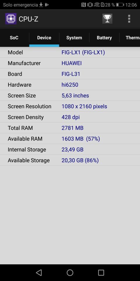 Espacio interno P Smart - CPUz