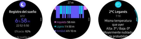 Ejemplos de notificaciones en el Samsung Gear Sport