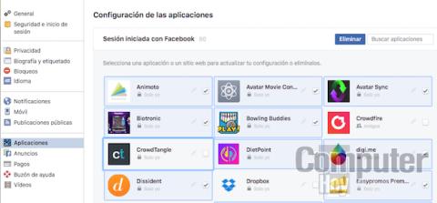 Borrar apps Facebook