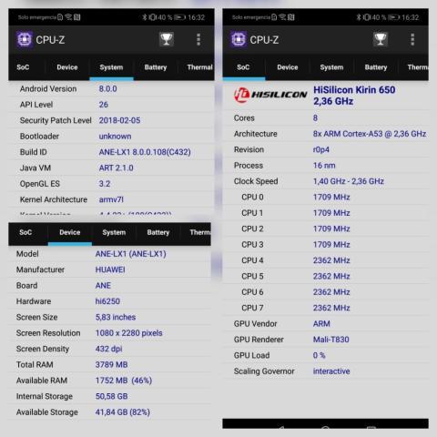 Huawei P20 Lite - CPUz