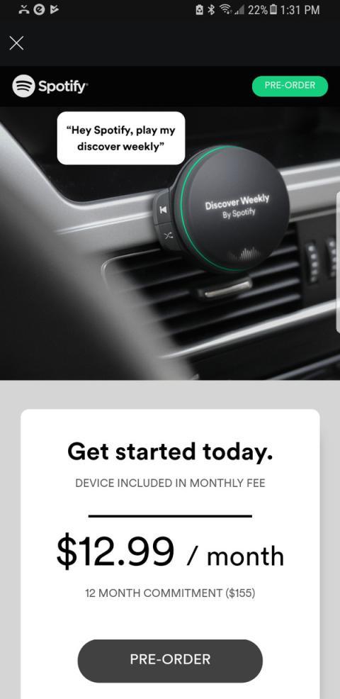 Reproductor de música para el coche de Spotify