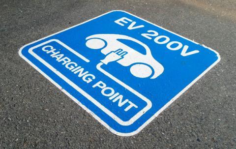 Punto de carga para un coche eléctrico