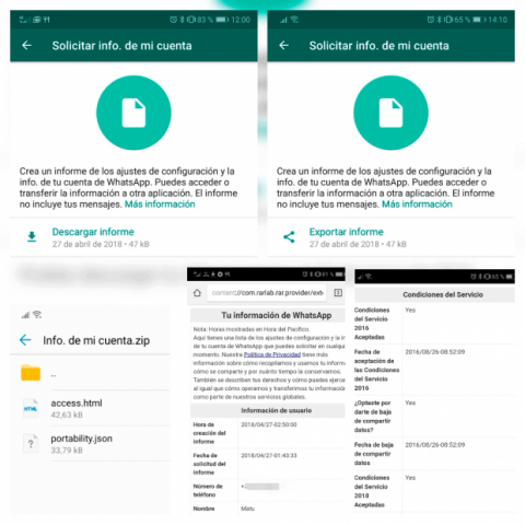 Como descargar informe datos WhatsApp