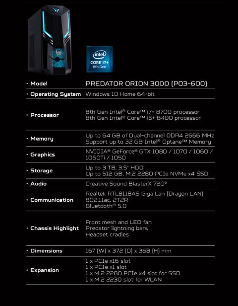 Acer Predator Orion 3000 características