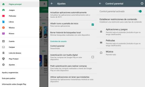 Control parental de Google Play