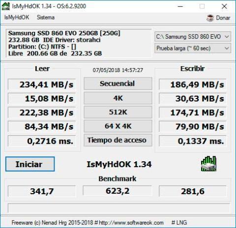 Test de velocidad de SSD