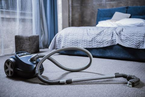 aspiradora, dormitorio, limpiar