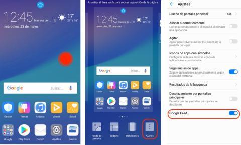 Huawei P20 Lite: desactivar escritorio Google