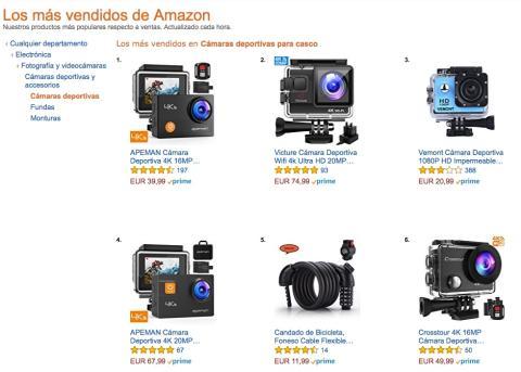 Las cámaras deportivas más vendidas en Amazon