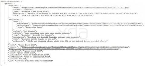 Código fuente de la web de Fortnite