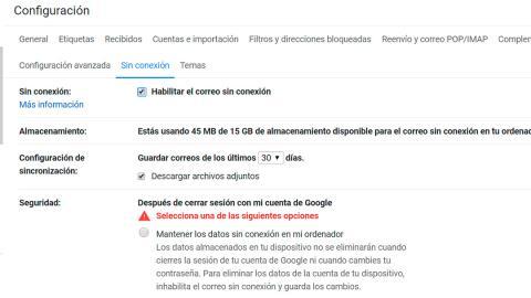 Correo de Gmail sin conexión