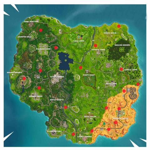Mapa Fortnite portales brechas actualizado