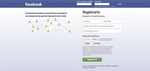 Página de inicio de sesión de Facebook