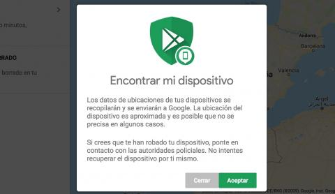 Condiciones para utilizar Encontrar mi dispositivo Android