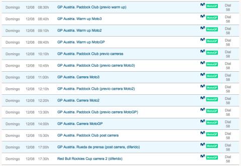 ver motogp austria 2018 online horarios